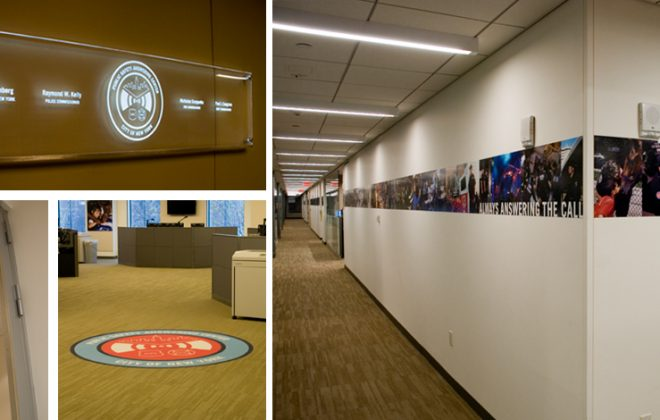 Interior Signage including entry sign, carpet logo & photostrip for NYPD & FDNY Call Center (PSAC)