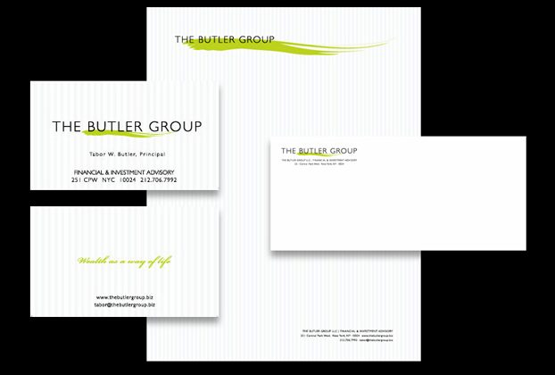 Identity package using specialty embossed striped papers
